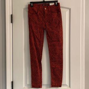 ZARA red & black leopard skinny jeans